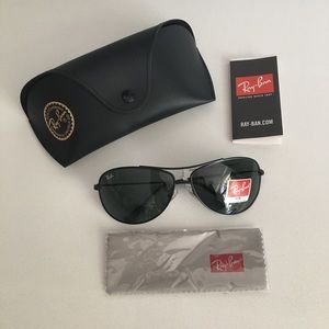 NWT Ray-Ban RB3293-006/71 Black Aviator Sunglasses